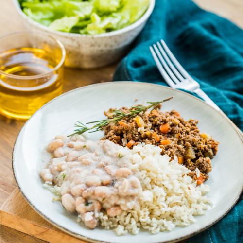 Carne Moida com arroz e feijão