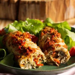 Panqueca de Tapioca com chia e recheio de frango