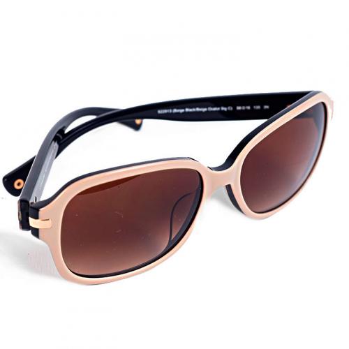 Óculos Coach | Bege | Haste marrom em monograma - fechado