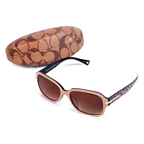 Óculos Coach | Bege | Haste marrom em monograma - completo