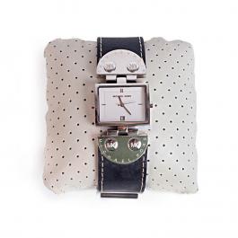 Relógio Michael Kors 4054 | Caixa retangular | Pulseira em couro preto - frente