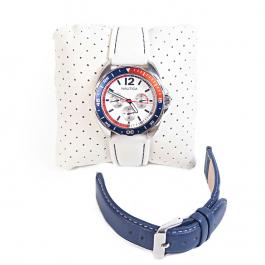 Relógio Náutica | Pulseiras removíveis (branca emborrachada e azul em couro) - completo