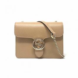 Bolsa Gucci Interlocking | Couro | Bege - frente