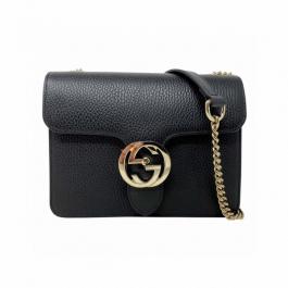 Bolsa Gucci Interlocking | Couro | Preta - frente