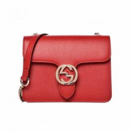 Bolsa Gucci Interlocking | Couro | Vermelha - frente