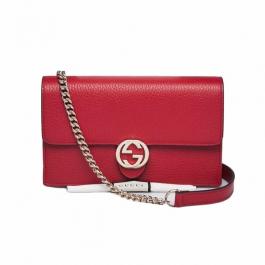Bolsa Gucci Interlocking WOC | Couro | Vermelha - frente