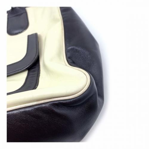 Bolsa Longchamp Couro Preto e creme | Off white