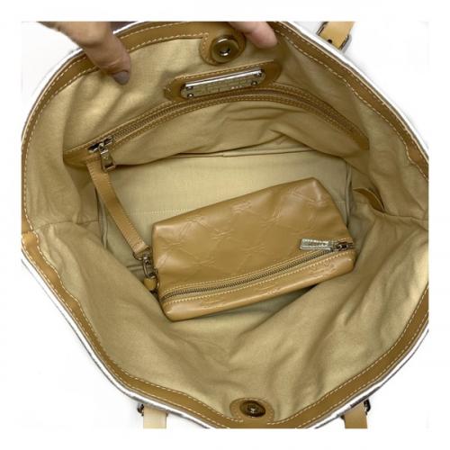 Bolsa Longchamp Couro Sacola Bege