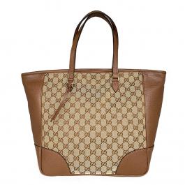 Bolsa Gucci | Linho jacquard | Couro | Monograma bege - frente