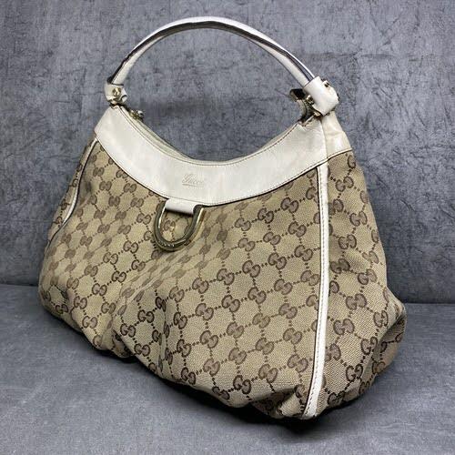 Bolsa Gucci | Linho Jacquard | Alça creme - lateral