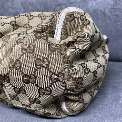 Bolsa Gucci | Linho Jacquard | Alça creme - fundo