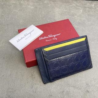 Porta-cartão Salvatore Ferragamo | Couro | Azul marinho - completo