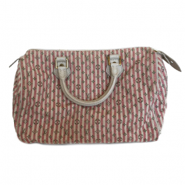 Bolsa Louis Vuitton Speedy 30   Mini Lin   Creme e rosa - frente