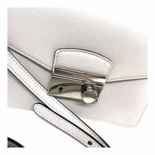Bolsa Prada Tiracolo Couro Saffiano Off white | Pequena