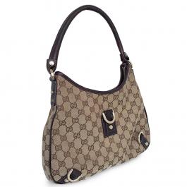 Bolsa Gucci | Linho jacquard | Monograma bege - frente