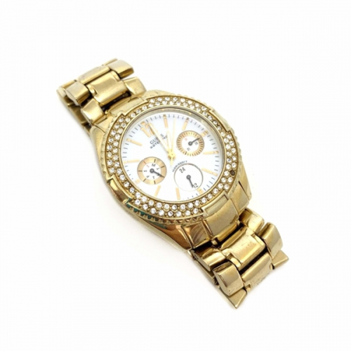 Relógio Guess Metal Dourado Strass   Feminino