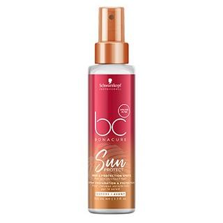 spray fino que prepara, protege e nutre o cabelo antes e durante a exposição ao sol.