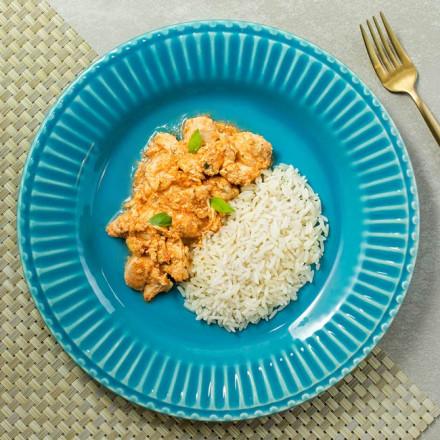 Estrogonofe de frango com arroz branco Da Mamãe Fitness