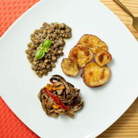 Lentilha com Batata doce e caponata de berinjela Da Mamãe Fitness