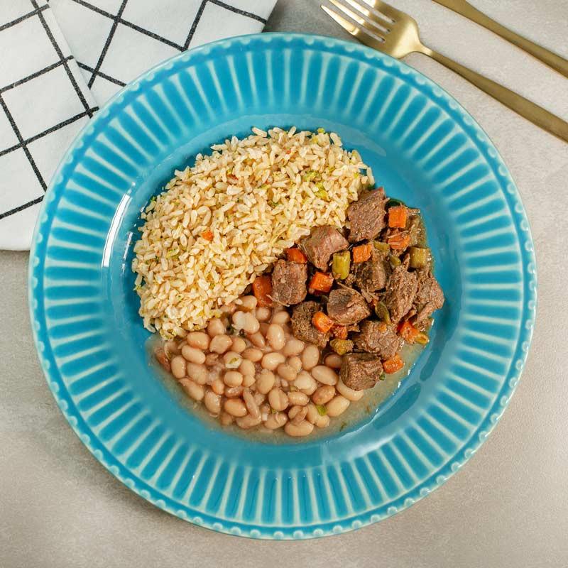 Marmita Fit   Picadinho de Carne com Arroz Integral e Feijão