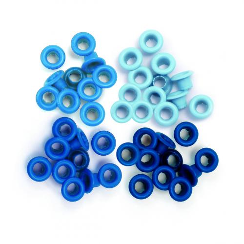 We R - KIT COM 60 PEÇAS DE ILHOSES EM 4 TONS VARIANTES DE AZUL - EYELETS BLUE - (41578-7).